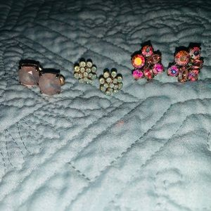 Pretty earrings. Gently used set of three pairs